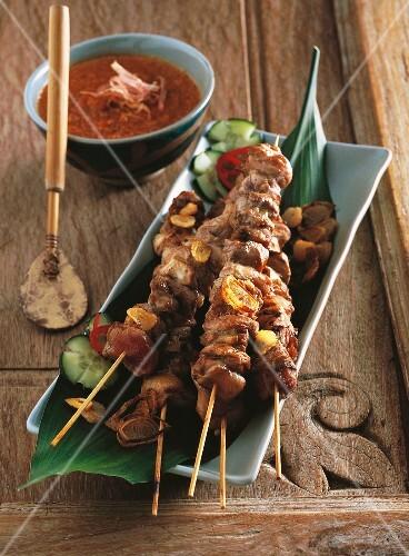 Sate kebabs with peanut sauce (Indonesia)