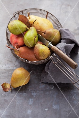 Assorted varieties of pear with a knife in a wire basket