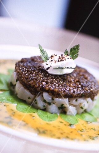 Cod tartar with caviar