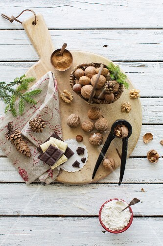 An arrangement of nuts and chocolate