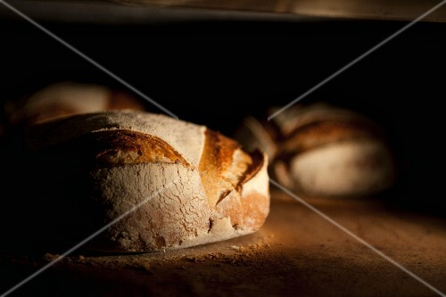 Bread in an oven