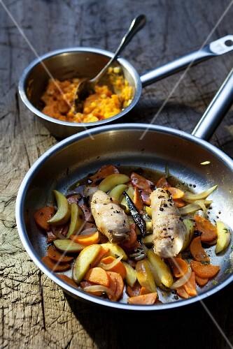 Pheasant breast in lardo with vegetables