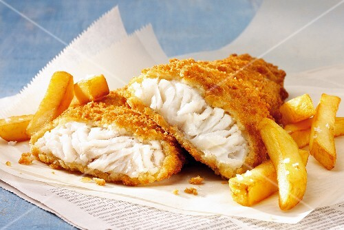 Fish and chips on paper