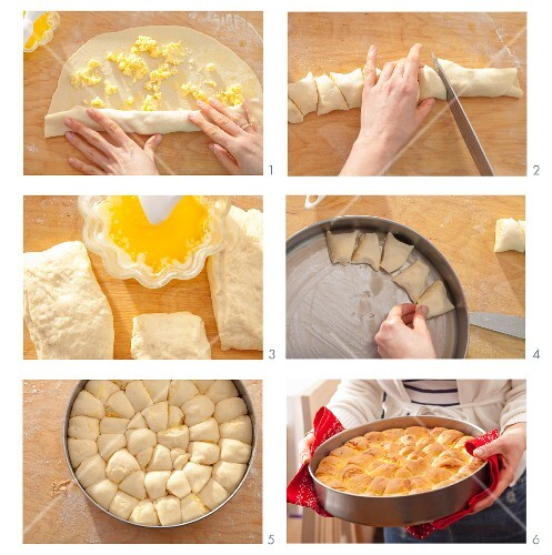 Tutmanik (Bulgarian bread with feta) being prepared
