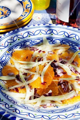 Orange salad with onions and fennel