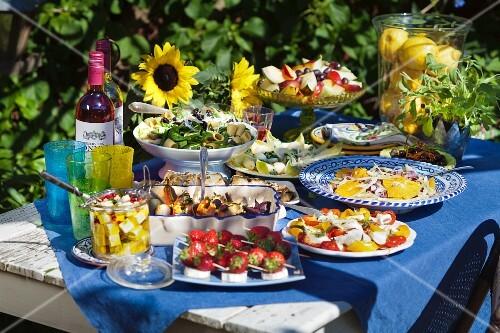 Summer buffet in garden