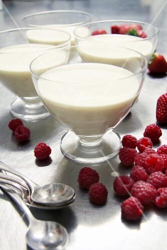Bavarian cream with raspberries