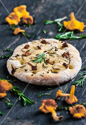 Focaccia topped with chanterelle mushrooms and rosemary