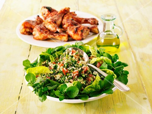 Tabbouleh and grilled chicken legs