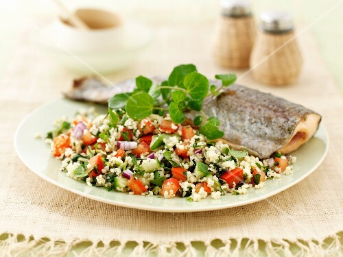Trout with tabbouleh and watercress