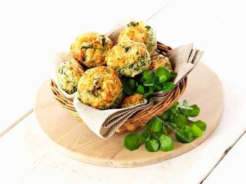 Scones with watercress in a bread basket