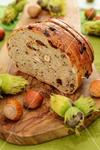 Nut bread and hazelnuts