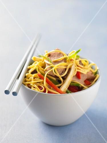 Pork with egg noodles (Asia)