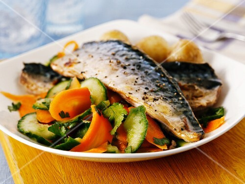 Mackerel on a carrot and cucumber salad