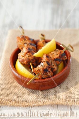 Pork kebabs with lemon (tapas, Spain)