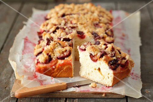 Plum crumble cake, sliced