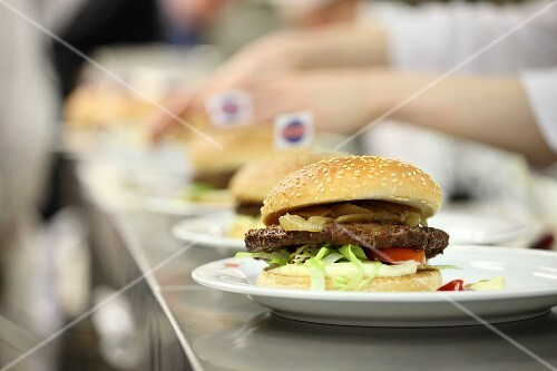 Hamburgers in a commercial kitchen