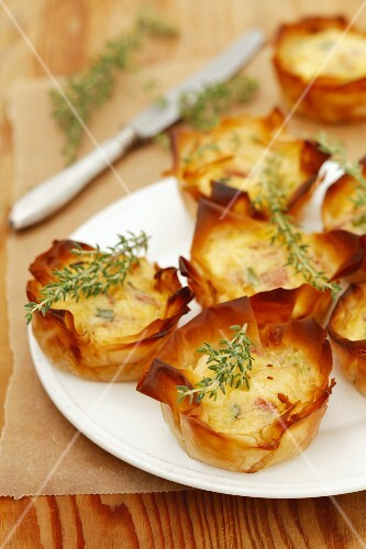 Bacon, spring onion, Parmesan and egg puff pastry pies