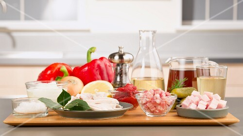 Ingredients for solyanka (Eastern European meat stew with vegetables)