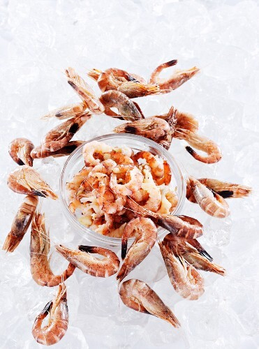 North Sea shrimps, peeled and whole on ice