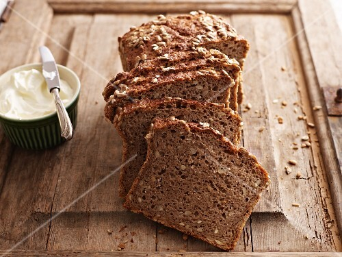 Wholemeal bread on a chopping board