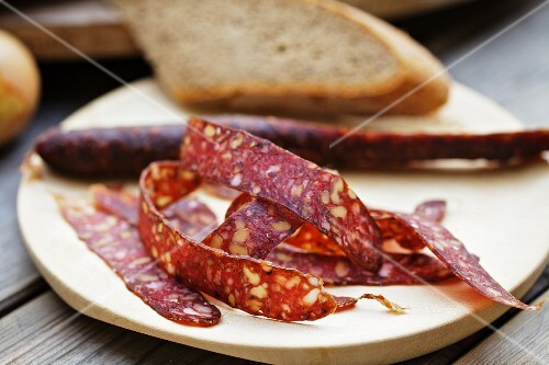 Supper with venison salami