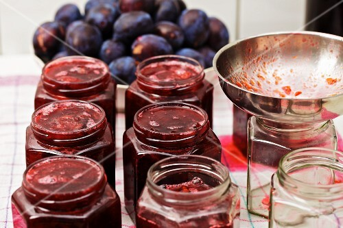 Jars of homemade damson jam
