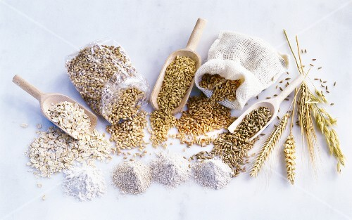 Various type of grain, flour and ears