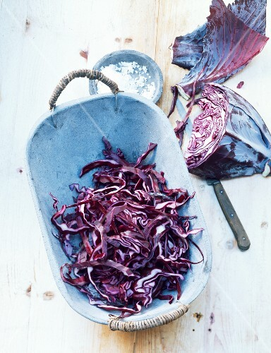 Red cabbage, partially chopped