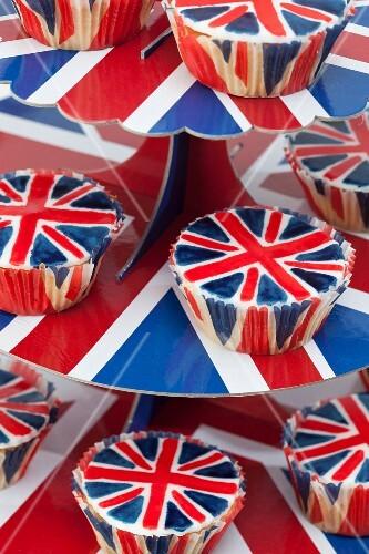 Patriotic cupcakes decorated with Union Jacks