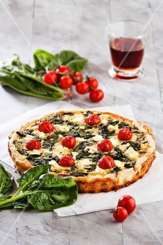 Spinach, tomato and cheese quiche