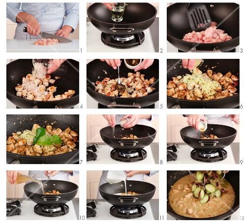 Grünes Hähnchencurry zubereiten