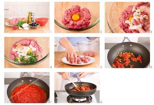Hackbällchen in Tomatensauce zubereiten