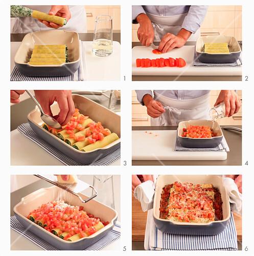 Cannelloni mit Spinat-Ricotta-Füllung und Tomaten zubereiten