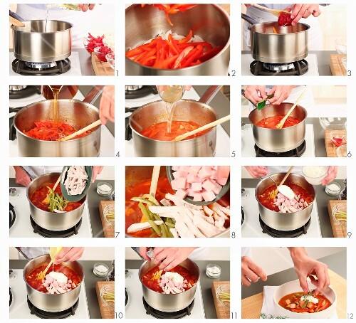 Soljanka (Osteuropäischer Fleischeintopf mit Gemüse und Sauerrahm) zubereiten