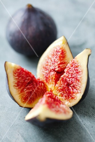 A fig cut into a flower shape