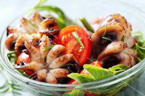 Octopus salad with tomatoes and amaranth