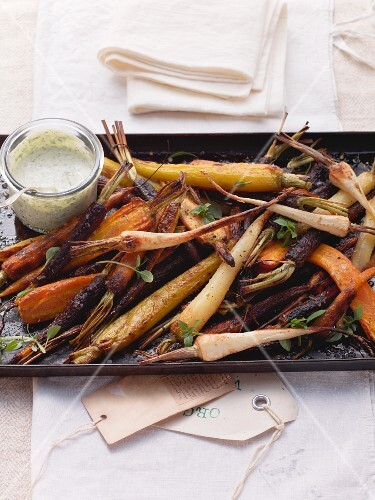 Oven-baked root vegetables