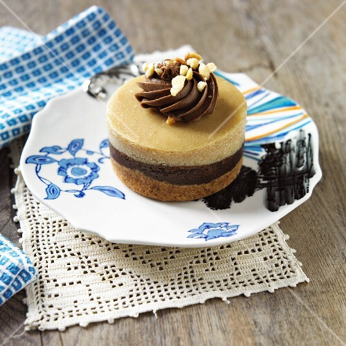 Individual Peanut Butter Chocolate Cheesecake on a Plate