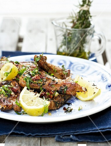 Marinated lamb chops with herbs, chillies and lemons