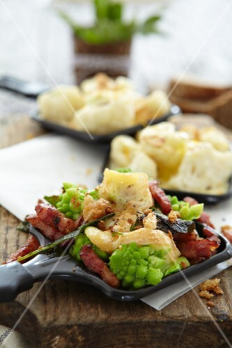 Raclette with romanesco cauliflower and bacon, cauliflower Raclette