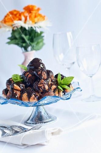 Profiteroles with chocolate sauce