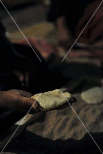 Unleavened bread being made (Egypt)
