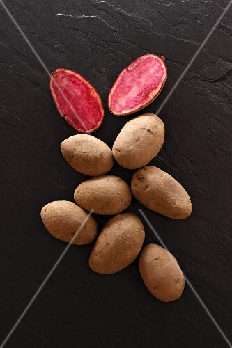 Highland Burgundy Red potatoes on a slate platter