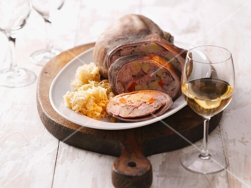 Saumagen (stuffed pig's stomach) with sauerkraut