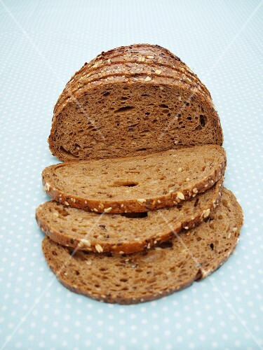 Slices of Whole Grain Bread on a Plate