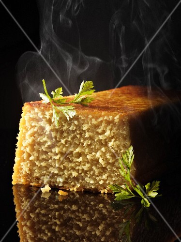 A steaming, spicy polenta cake