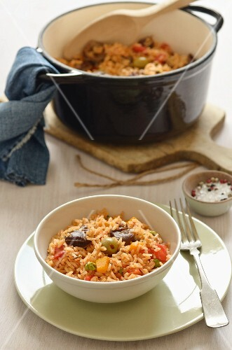 Rice stew with olives and pepper (Caribbean)