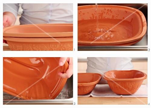 A terracotta pot being prepared