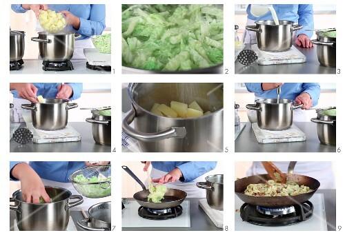 Bubble and Squeak (Kartoffelbrei-Wirsing-Gericht, England) zubereiten